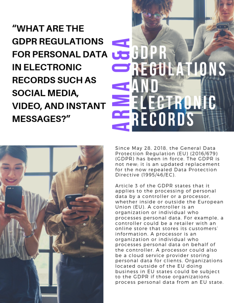 ARMA Q&A: GDPR Regulations and Electronic Records